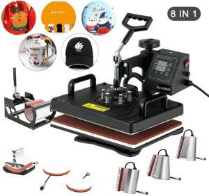 Nurxiovo 8 in 1 Swing Away Digital Heat Press Machine, 12x15 inch