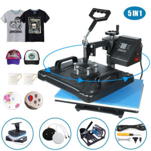 "5 in 1 Heat Press Machine 12""x 15"" inch Professional Digital Transfer Sublimation Swing-Away"