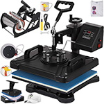 "VEVOR Heat Press 12""x15""  Heat Press Machine 5 in 1  Digital Multifunctional Swing Away Heat Press Machine"